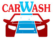 Car Wash vector logo on white background.  The logo symbolizes and shows the difference between a clean and dirty machine. Vector isolated illustration, color, shapes can be easily changed to your needs.