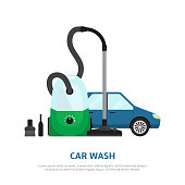 Car wash web background  in flat style