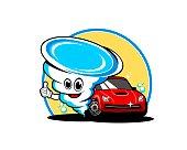 Car wash with cartoon twister