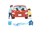 It is an illustration of a Car wash.