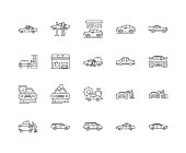 Car washing line icons, linear signs, vector set, outline concept illustration