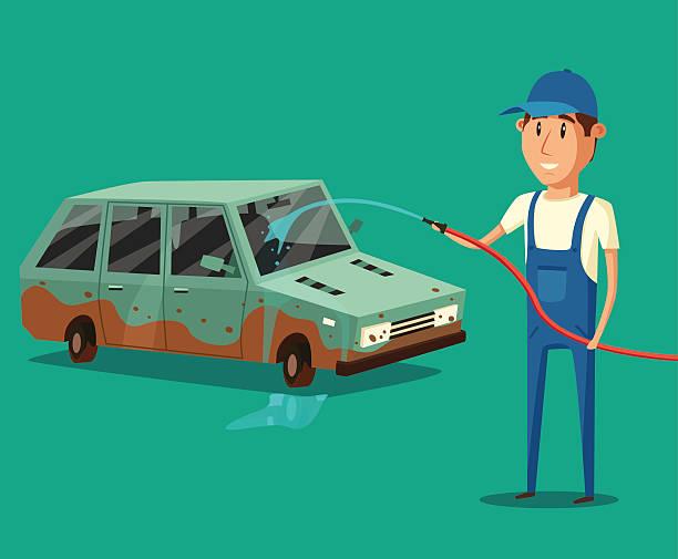 bildbanksillustrationer, clip art samt tecknat material och ikoner med car washing service. vector cartoon illustration - surf garage