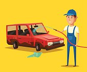 Car washing service. Vector cartoon illustration. Worker washing a car. Spraying water from the hose. Car wash specialist in uniform