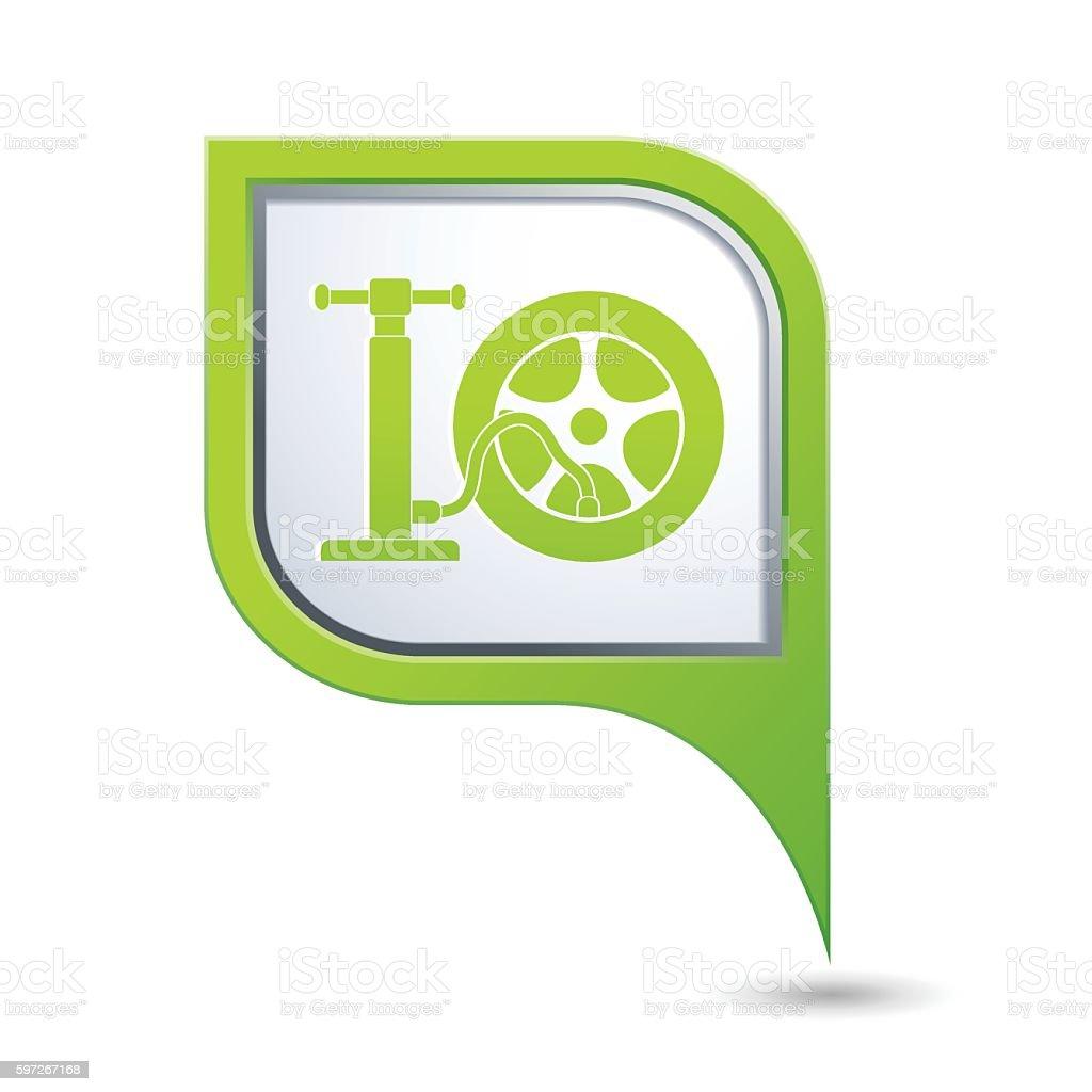 Car wheel and pump service icon on map pointer car wheel and pump service icon on map pointer – cliparts vectoriels et plus d'images de baguette pour pointer libre de droits