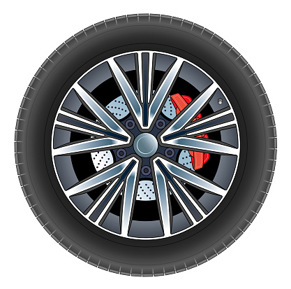 Car wheel and tyre vector illustration