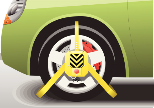 Car Wheel Clamped Close up