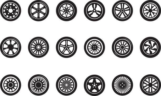 stockillustraties, clipart, cartoons en iconen met auto wiel collectie. autobanden silhouetten racing vehicle wielen vectorafbeeldingen - uitgeput