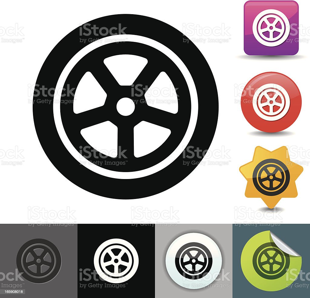 Car wheel icon | solicosi series royalty-free car wheel icon solicosi series stock vector art & more images of aluminum