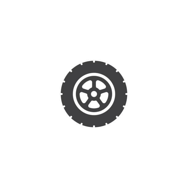 auto-rad-icon-vektor - flat icons stock-grafiken, -clipart, -cartoons und -symbole