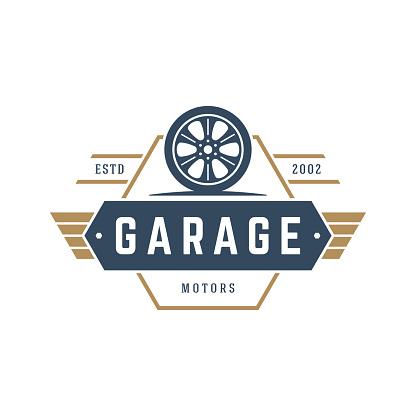 Car wheel logo template vector design element vintage style