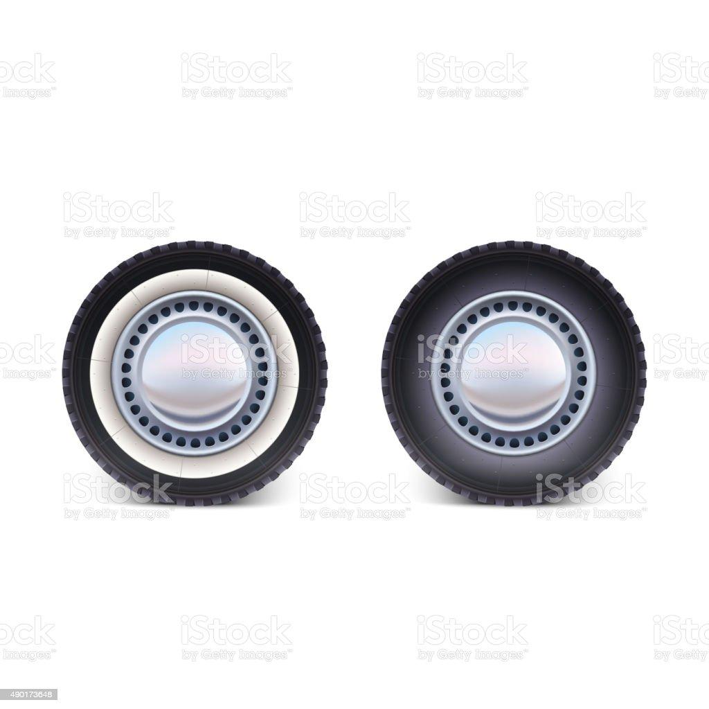 Car wheel on white background vector art illustration