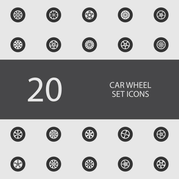 illustrations, cliparts, dessins animés et icônes de jeu de roues de voiture d'icônes plats. illustration vectorielle - alliage