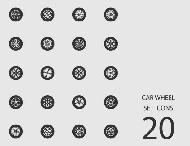 ilustraciones, imágenes clip art, dibujos animados e iconos de stock de conjunto de rueda de coche de iconos planos. ilustración de vector - tires