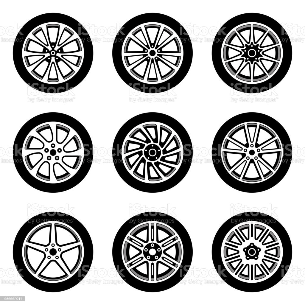 cbeba07caa635e Car wheel vector icon set. Rim and tire royalty-free car wheel vector icon