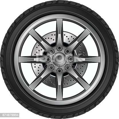 Car silver wheel on a white background