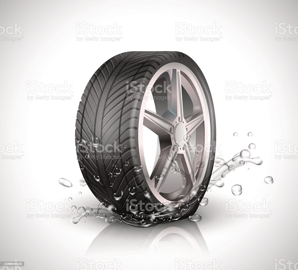 Car wheel with splashing water in motion blur on white vector art illustration