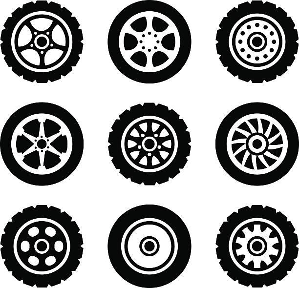 ilustraciones, imágenes clip art, dibujos animados e iconos de stock de conjunto de iconos de ruedas de coche - tires