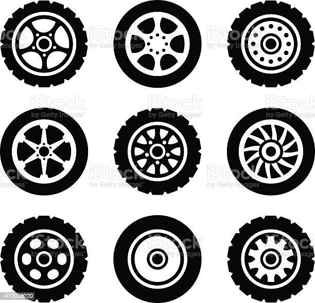 Car wheels icons set. Vector illustration. Isolated on white background.