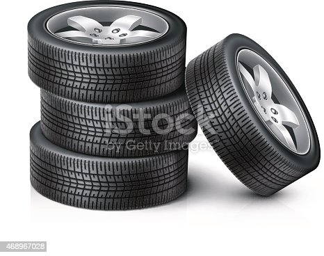 Detailed vector car wheels. Set of wheels, new tires for sale. Vector illustration EPS10.
