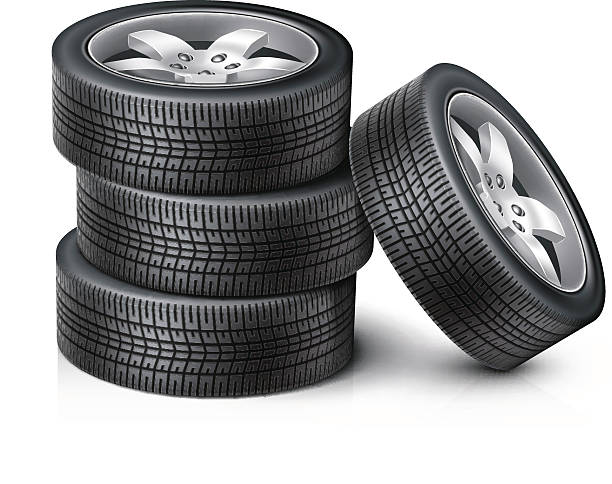 3 Car wheels stacked on top of each other with another wheel Detailed vector car wheels. Set of wheels, new tires for sale. Vector illustration EPS10.  tires stock illustrations