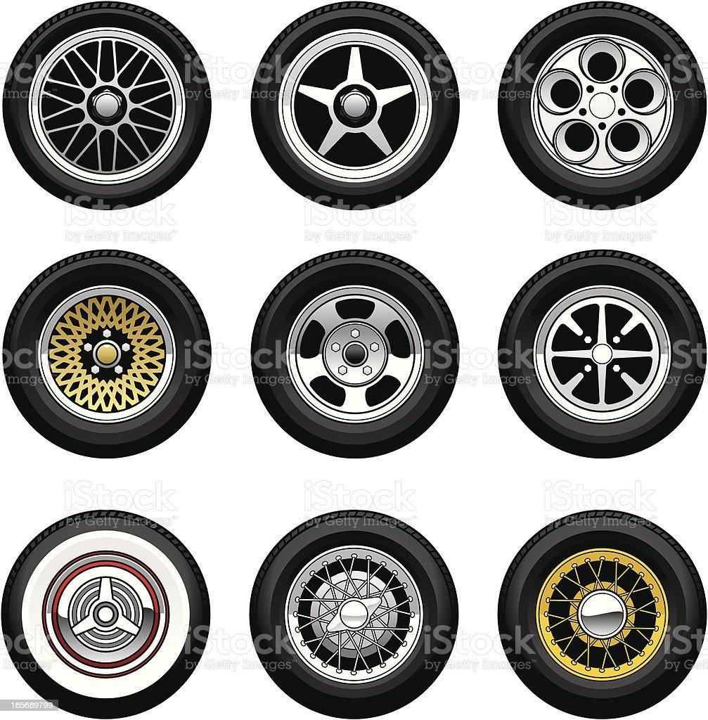 Car Wheels vector art illustration