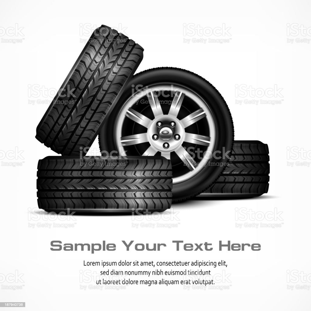 Car wheels vector art illustration