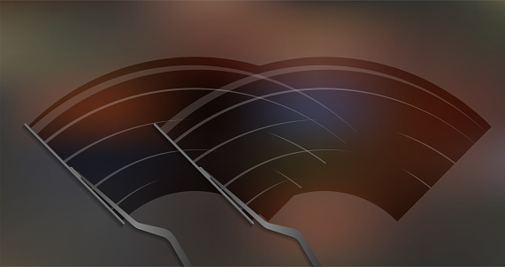 Car windscreen wipe glass, wiper cleans the windshield. Vector stock illustration