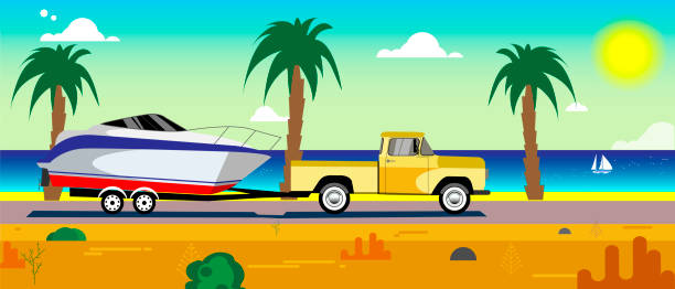car with a boat on a trailer vector art illustration