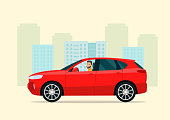 CUV car with a driver man on a background of abstract cityscape. Vector flat style illustration.
