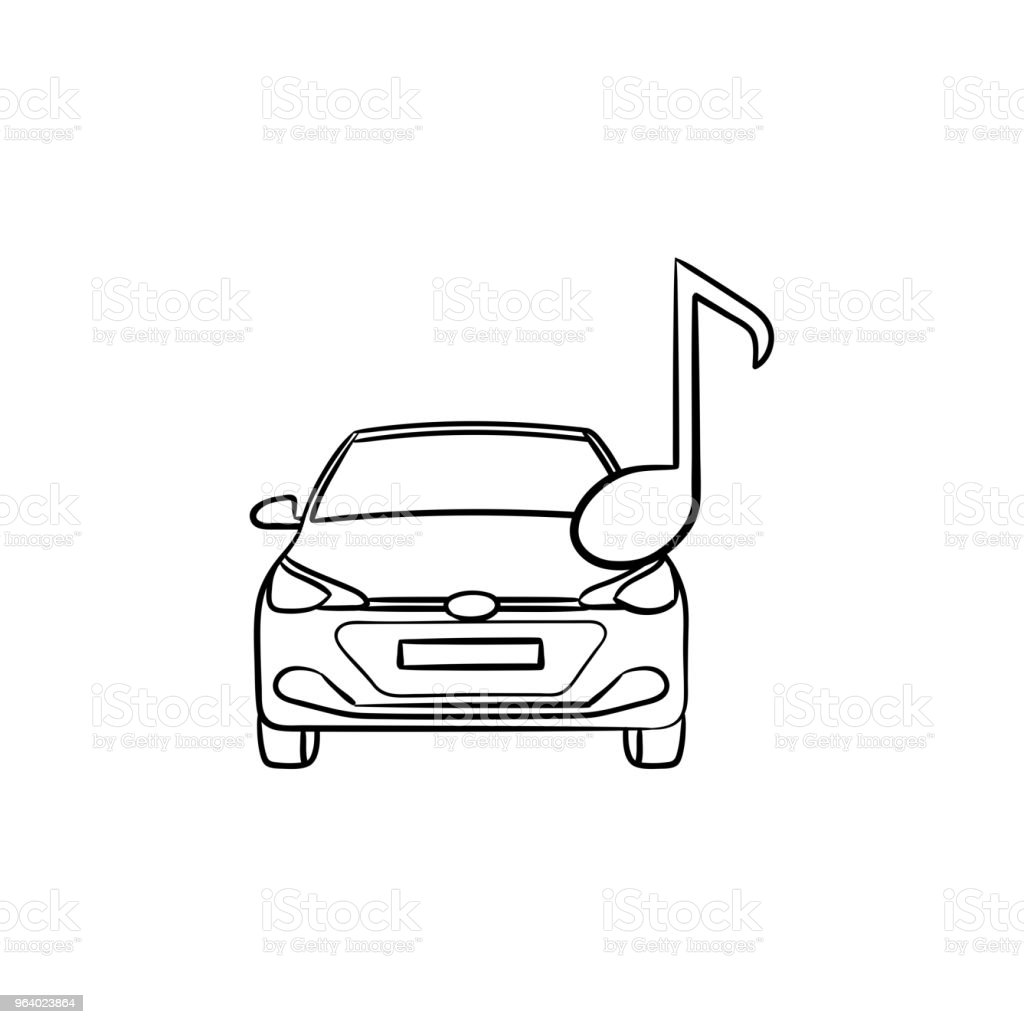 Car with a note hand drawn outline doodle icon - Royalty-free Acoustic Guitar stock vector