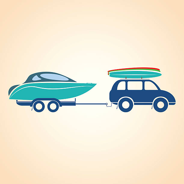 Car with a trailer. 4x4. Vector illustration vector art illustration