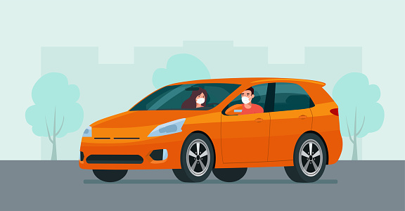CUV car with a young man and woman in a medical mask driving on a background of abstract cityscape. Vector flat style illustration.