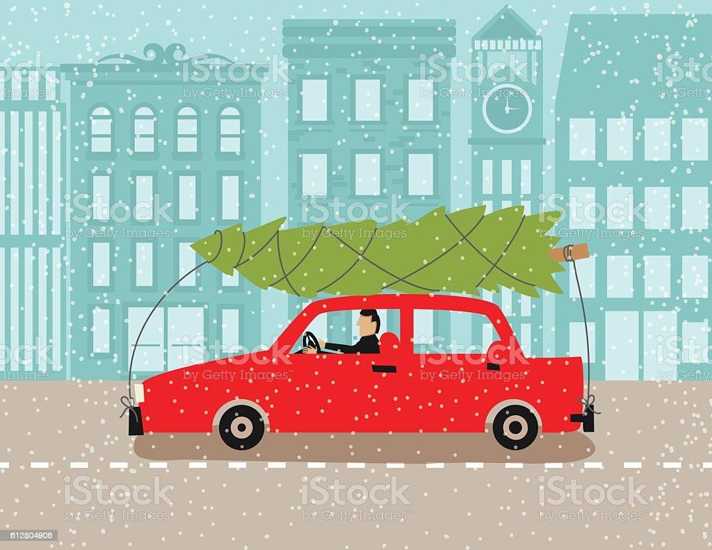 Auto Weihnachtsbaum.Auto Mit Weihnachtsbaum Oben In Einer Verschneiten Stadt Stock