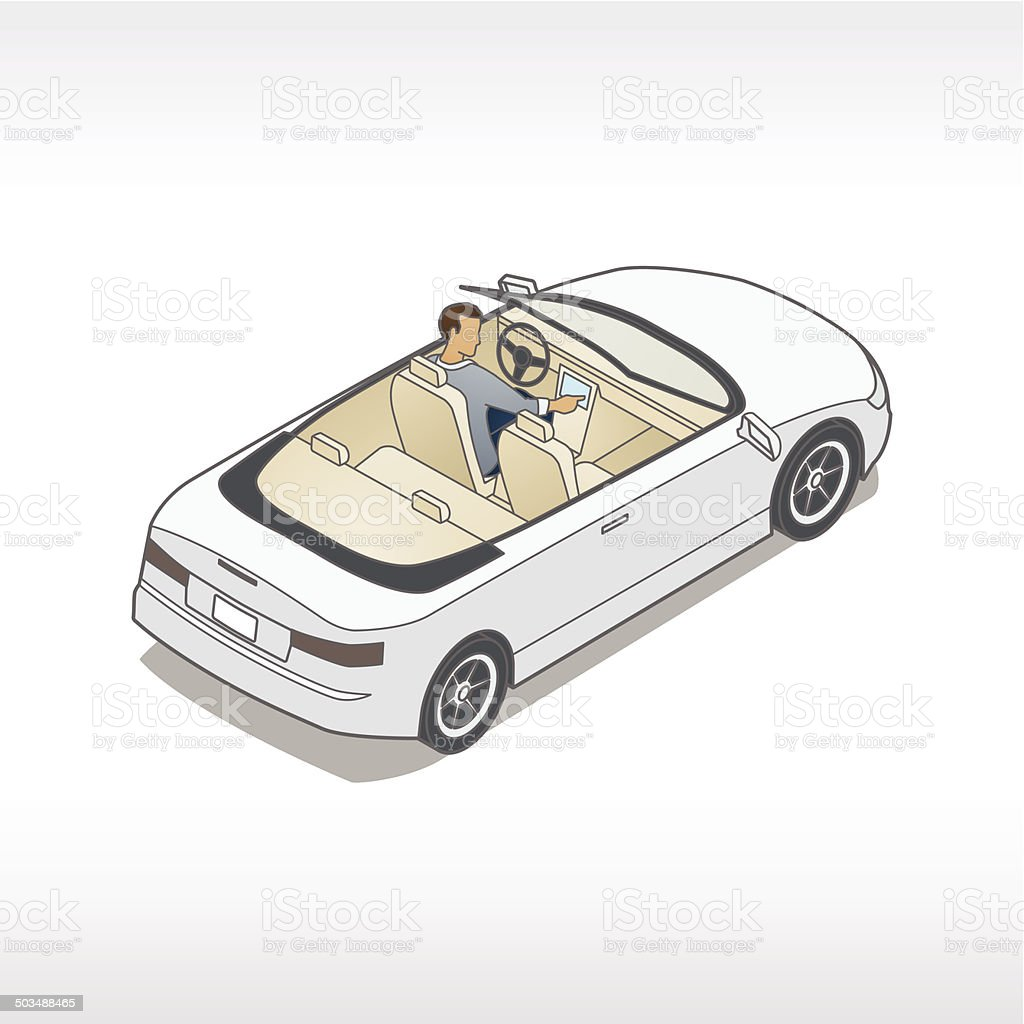 Car With Dashboard Touchscreen vector art illustration