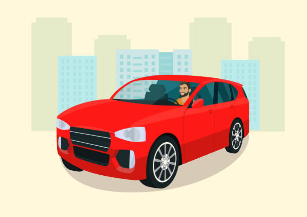 CUV car with driver man. Isometric view. Vector illustration. vector art illustration