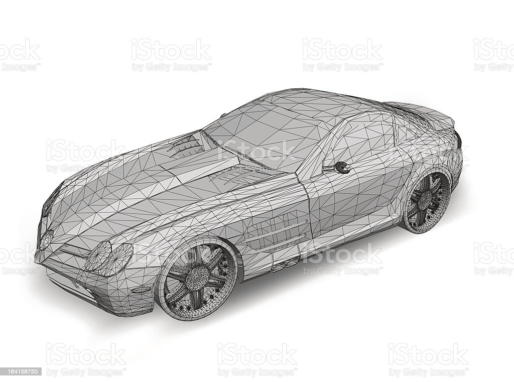 Car with grid. Vector vector art illustration