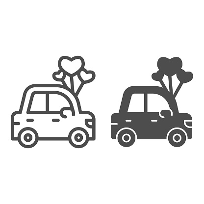Car with heart shaped balloons line and solid icon, valentine day concept, auto with love sign on white background, automobile for loved one icon in outline style for mobile concept. Vector graphics.