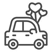 istock Car with heart shaped balloons line icon, valentine day concept, auto with love sign on white background, automobile for loved one icon in outline style for mobile concept. Vector graphics. 1287531755