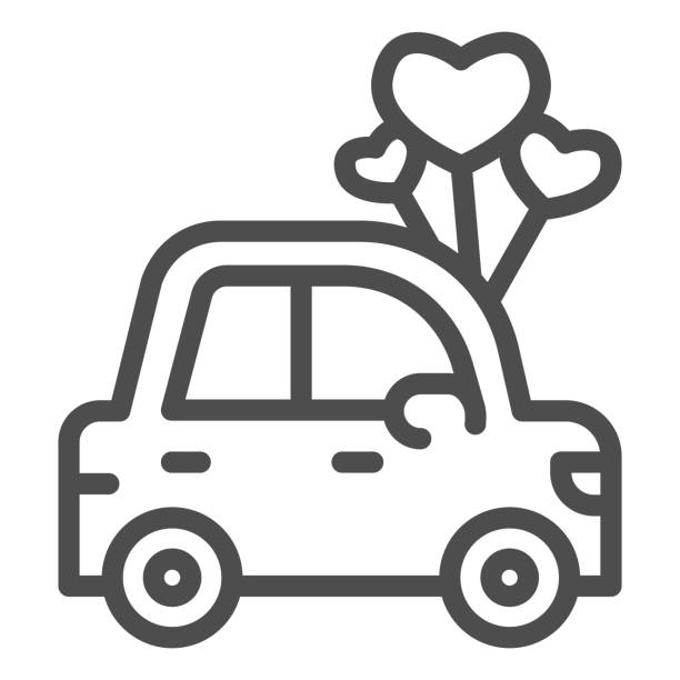 Car with heart shaped balloons line icon, valentine day concept, auto with love sign on white background, automobile for loved one icon in outline style for mobile concept. Vector graphics. Car with heart shaped balloons line icon, valentine day concept, auto with love sign on white background, automobile for loved one icon in outline style for mobile concept. Vector graphics car love stock illustrations