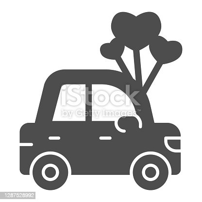 istock Car with heart shaped balloons solid icon, valentine day concept, auto with love sign on white background, automobile for loved one icon in glyph style for mobile concept. Vector graphics. 1287528992