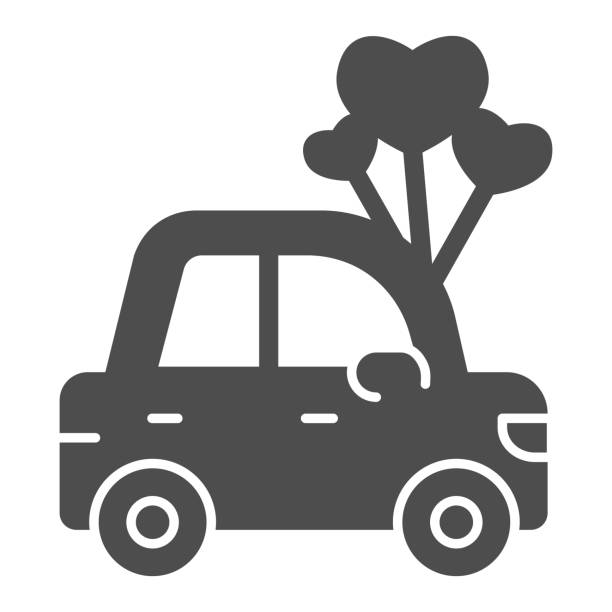 Car with heart shaped balloons solid icon, valentine day concept, auto with love sign on white background, automobile for loved one icon in glyph style for mobile concept. Vector graphics. Car with heart shaped balloons solid icon, valentine day concept, auto with love sign on white background, automobile for loved one icon in glyph style for mobile concept. Vector graphics car love stock illustrations