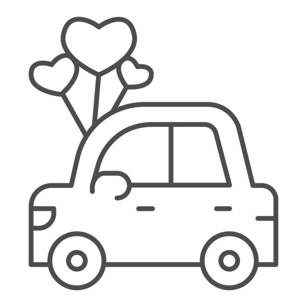 Car with heart shaped balloons thin line icon, valentine day concept, auto with love sign on white background, automobile for loved one icon in outline style for mobile concept. Vector graphics. Car with heart shaped balloons thin line icon, valentine day concept, auto with love sign on white background, automobile for loved one icon in outline style for mobile concept. Vector graphics car love stock illustrations