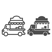Car with kiosk line and solid icon, Street food concept, Food truck sign on white background, Coffee Car on wheels icon in outline style for mobile concept and web design. Vector graphics