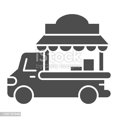 Car with kiosk solid icon, Street food concept, Food truck sign on white background, Coffee Car on wheels icon in glyph style for mobile concept and web design. Vector graphics