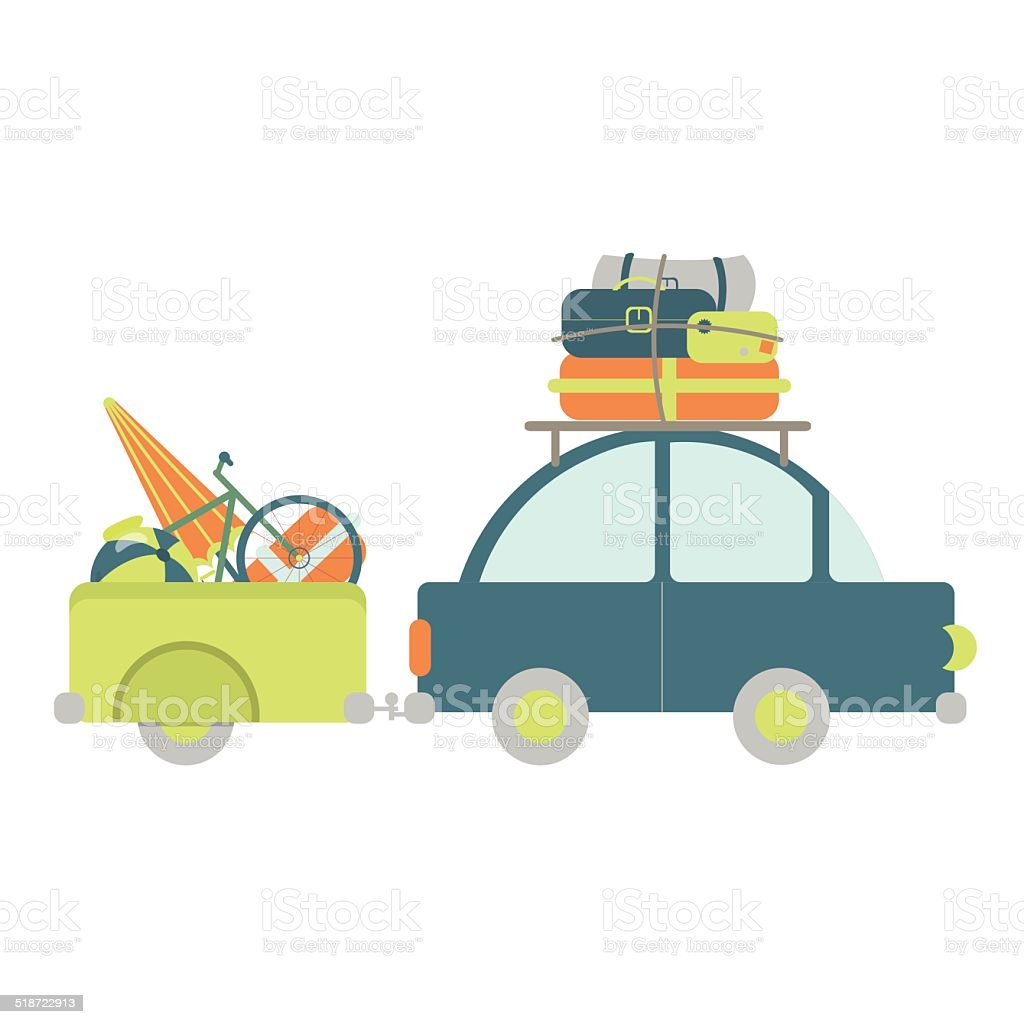 Car with luggage trailer vector art illustration