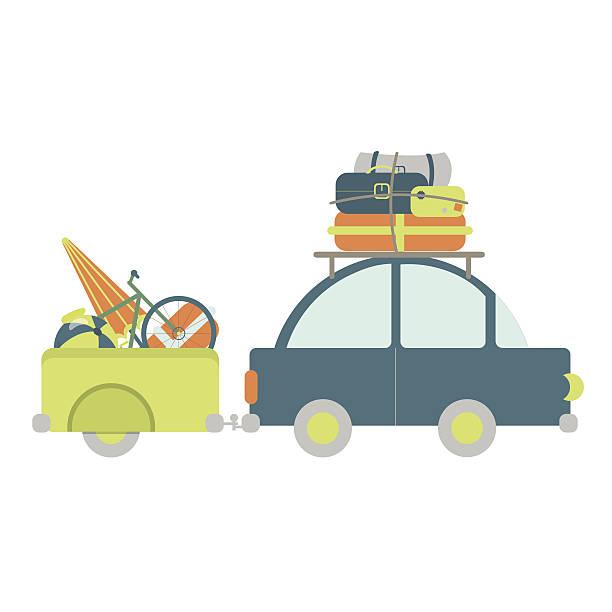 auto mit gepäckanhänger - urlaubsaktivitäten stock-grafiken, -clipart, -cartoons und -symbole
