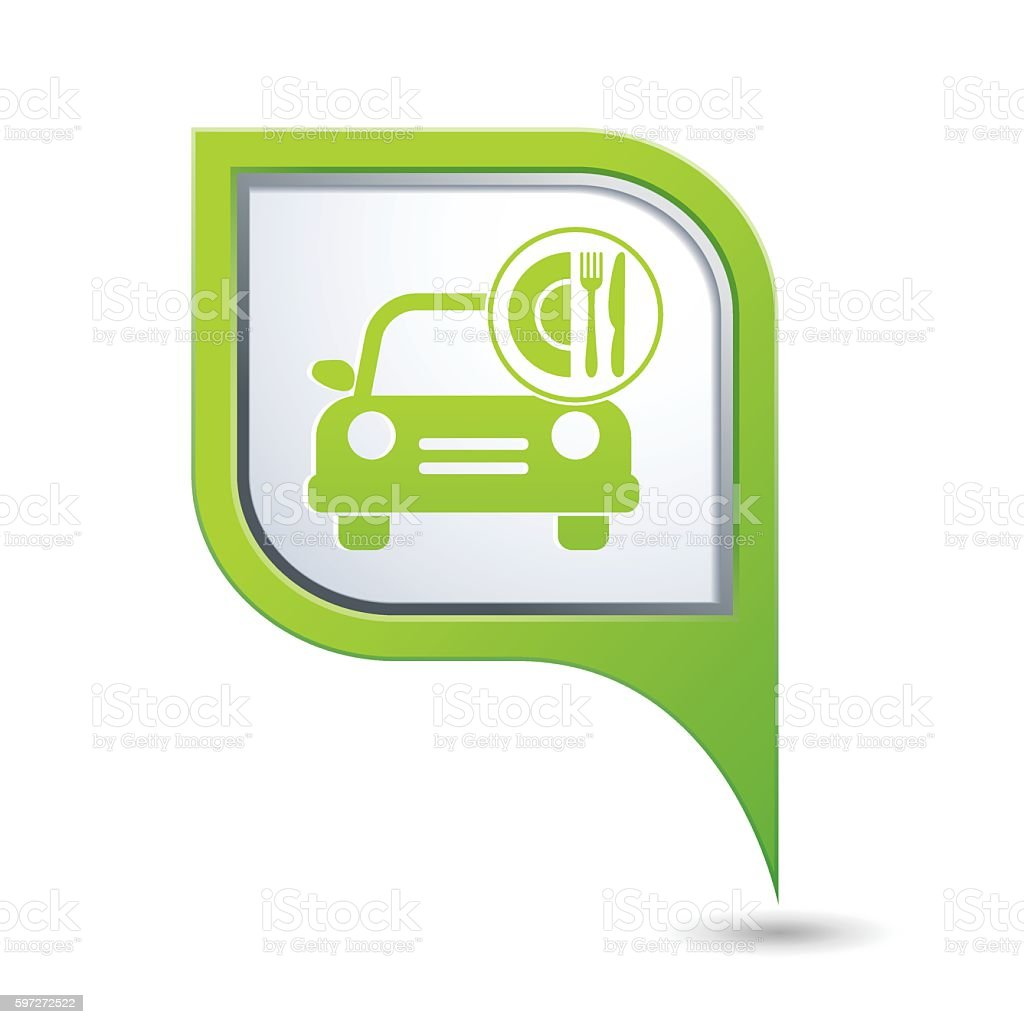 Car with meal icon on map pointer royalty-free car with meal icon on map pointer stock vector art & more images of crockery