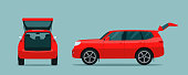 SUV car with open boot. Side and back view. Vector flat style illustration