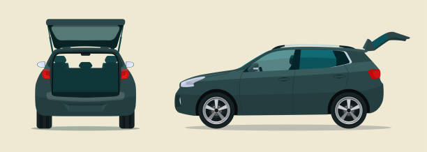 CUV car with open boot. Side and back view. Vector flat style illustration. vector art illustration