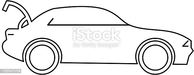 Vector illustration of a Car with open trunk icon. Useful for Curbside Pick up and delivery options for customers.  Print ready jpg included with EPS 10 vector download.